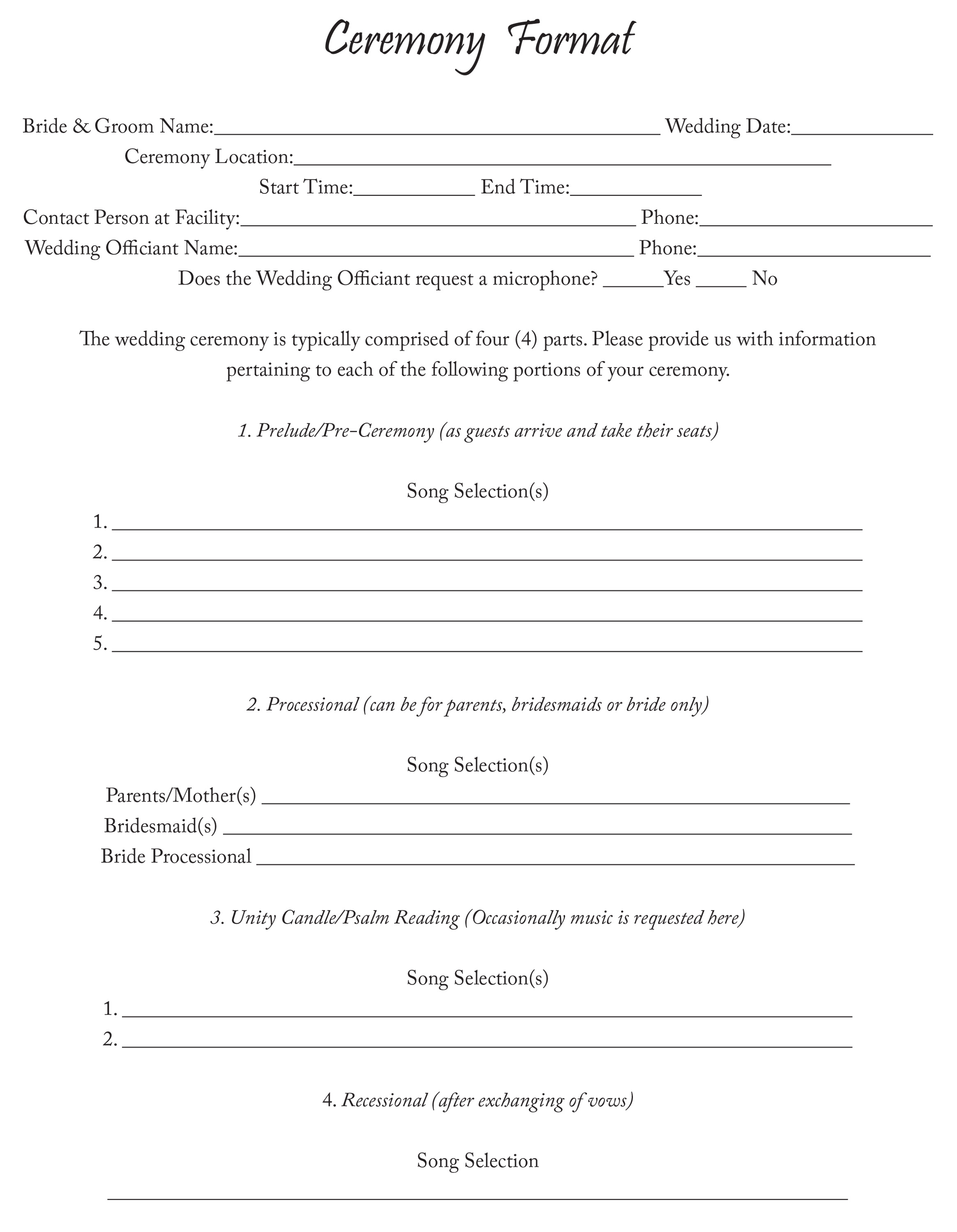 MyDJ Entertainment Ceremony Format Sheet.indd